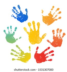 Hand rainbow print isolated on white background. Color child handprint. Creative paint hands prints. Happy childhood design. Artistic kids stamp, bright human fingers and palm illustration
