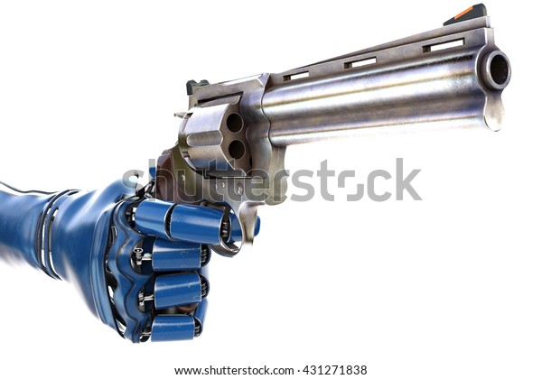 Hand of robot holding a gun. isolated on white background. 3D illustration.