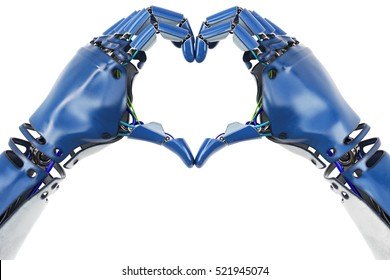 hand of robot making heart sign. isolated on white background. 3D illustration.