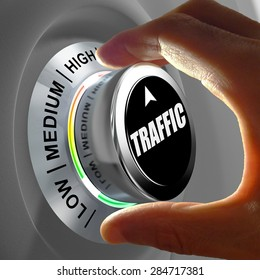 Hand rotating a button and selecting the level of traffic. This concept illustration is a metaphor for choosing the level of traffic (web site, car...) .