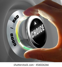Hand selecting a good or a bad choice. Concept of making a decision. 3D Rendering