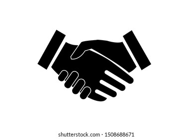hand shake between business man icon on white background