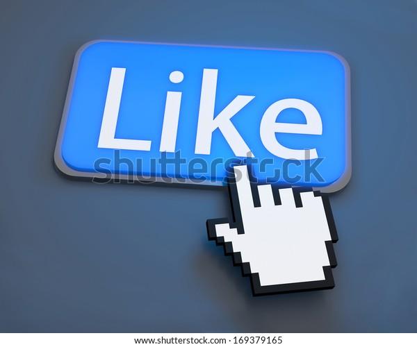 Hand Shaped mouse Cursor thumb up like man share good social media share 3d symbol icon button illustration keyboard