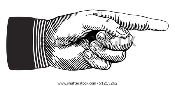 Hand sign with pointing finger in retro style. Vector version also available in my portfolio.