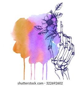 Hand skeleton with flower. Raster illustration.