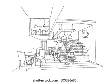 hand sketch design idea of interior space