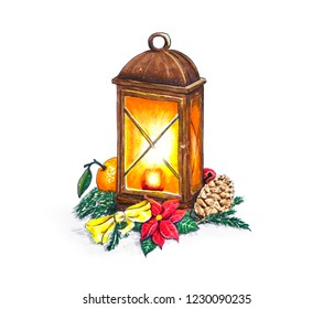 Hand sketched Christmas lantern with decorations on white