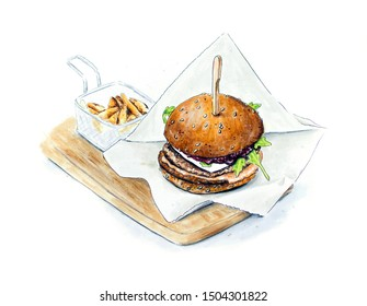 Hand sketched mini hamburger with french fries on white