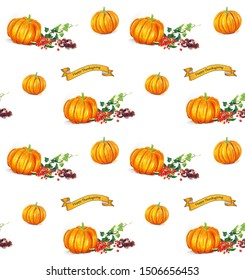 Hand sketched Thanksgiving seamless background with pumpkins