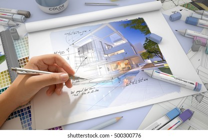 Hand sketching on an architect desktop with a house render, markers and  color swatches 3D rendering