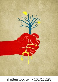 hand sqeeze out a tree digital illustration