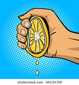 Hand squeezes lemon pop art comic book style raster illustration