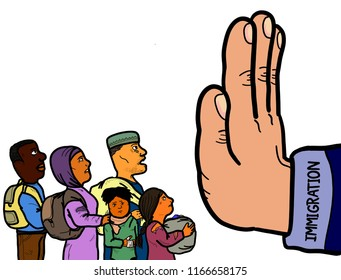 A hand symbolizing the prevention of illegal immigration, refugees and asylum seekers from entering the country.