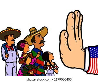 A hand symbolizing the prevention of Mexican illegal immigration, refugees and asylum seekers from entering the country.