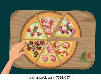 hand takes a piece of pizza - Shutterstock ID 733430374