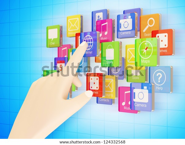Hand Touching Cloud of Application Icons on blue background