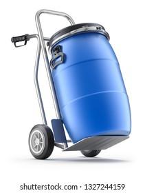 Hand truck with blue plastic barrel - 3D illustration