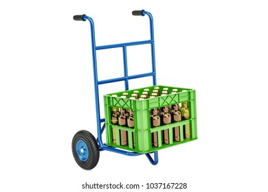 Hand truck with crate beer, 3D rendering isolated on white background
