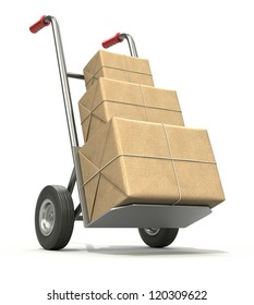 Hand truck with three post packages