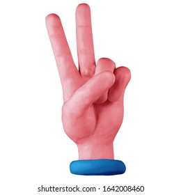 Hand with two fingers up in the peace or victory symbol. Handmade with plasticine or clay. Isolated on white background – Illustration 3D