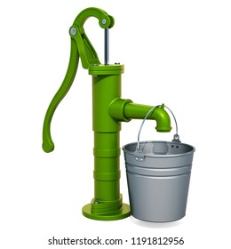 Hand water pump with galvanized bucket. 3D rendering isolated on white background