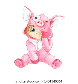 Hand watercolor drawing, a small child in a suit of a little pig