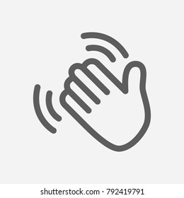 Hand waving icon line symbol. Isolated  illustration of goodbye gesture sign concept for your web site mobile app logo UI design.