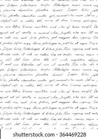 Hand writing black and white letter - latin text Lorem ipsum. Seamless pattern