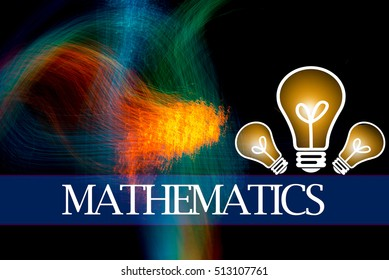 Hand writing MATHEMATICS  with the abstract background. The word MATHEMATICS represent the meaning of word as concept in stock photo.