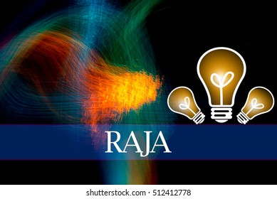 Hand writing RAJA  with the abstract background. The word RAJA represent the meaning of word as concept in stock photo.