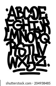 Hand written graffiti font alphabet (raster version)