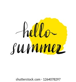 Hand written lettering inscription hello summer.  illustration isolated on white background, clipart. Yellow watercolor stain on background.