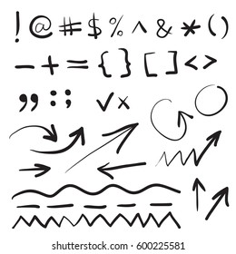 Hand written marker pen signs, symbols and shapes. Highlight hand drawn arrows, lines isolated on white background