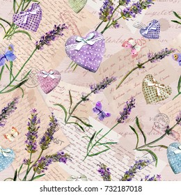 Hand written notes, letters, lavender flowers, hearts and butterflies. Seamless pattern at vintage old paper