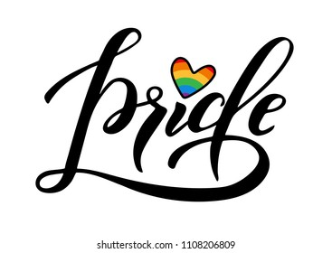 Hand written pride lettering with rainbow. Gay parade slogan. LGBT rights symbol. Poster, placard, gards design