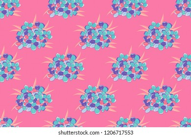 Hand written raster forget-me-not flowers, stamps, keys. Vintage seamless pattern in violet, blue and pink colors.