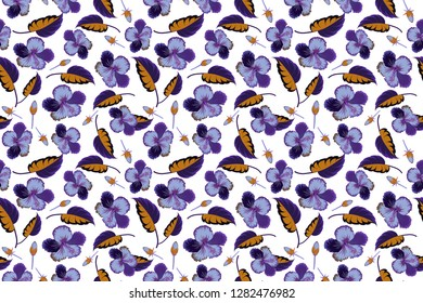 Hand written raster hibiscus flowers, stamps, keys. Vintage seamless pattern in violet, blue and white colors.