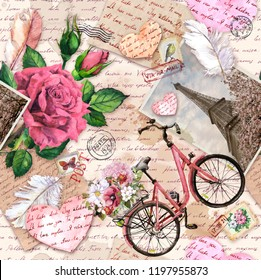 Hand written text, notes, hearts, bicycle with flowers in basket, vintage photo of Eiffel Tower, rose flowers, postal stamps, feathers, old paper texture. Seamless pattern about love, France and Paris