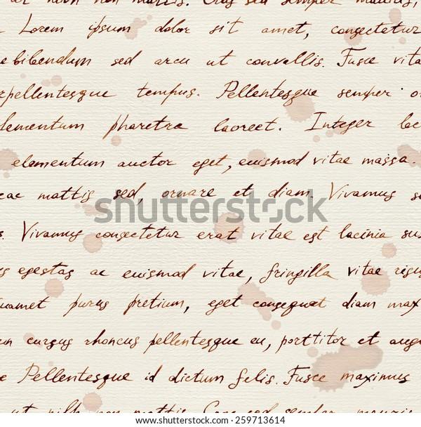 Hand written vintage note - ink text Lorem ipsum. Seamless pattern