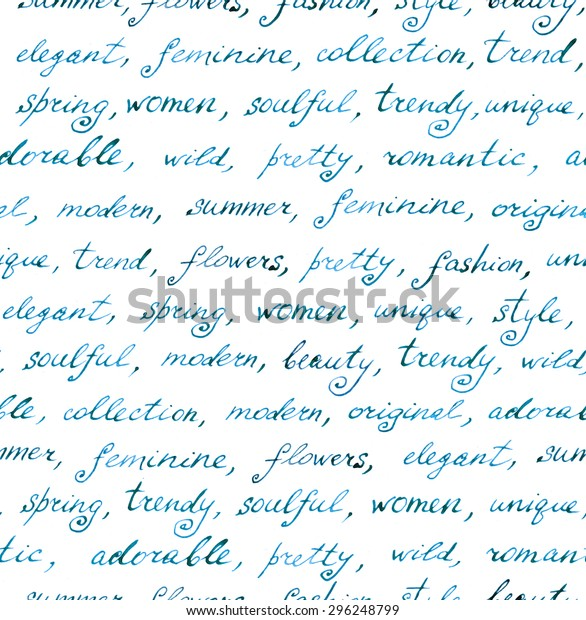 Hand Written Words Fashion Beauty Lorem Stock Illustration