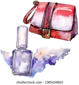 Handbag and nailpolish sketch fashion glamour illustration in a watercolor style isolated aquarelle element. Clothes accessories set trendy vogue outfit. Watercolour background illustration set.