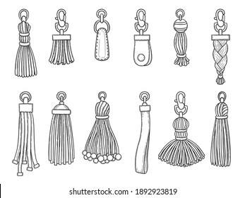 Handbags accessories. Leather textile technician knot trinket threads fashion items illustrations