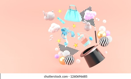 Handbags, lipstick, high heels and perfume flying into a magic hat among the colorful balls and rabbits on the pink background.-3d rendering.