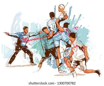 Handball attack on white background.