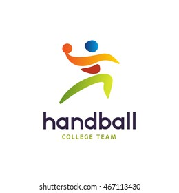 Handball sign. Abstract colorful silhouette of player for tournament logo or badge. Handball College team