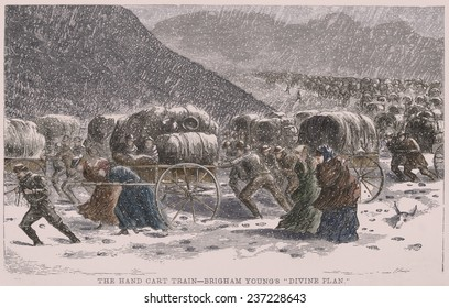 The handcart pioneers struggle through a blizzard while crossing the Rocky Mountains on the Mormon Trail.