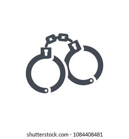 Handcuffs silhouette police service icon raster illustration