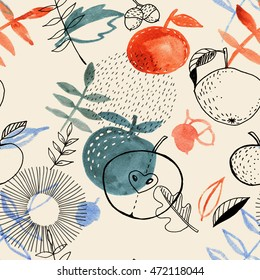 Hand-drawn abstract autumn pattern with decorative watercolor and ink elements: apples, leaves, fruits. Repeated seamless background.