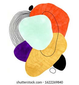 Hand-drawn abstract composition of a modern art style. Raster illustration with minimalist style.