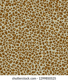 Hand-drawn animal print background of brown leopard spots on taupe
